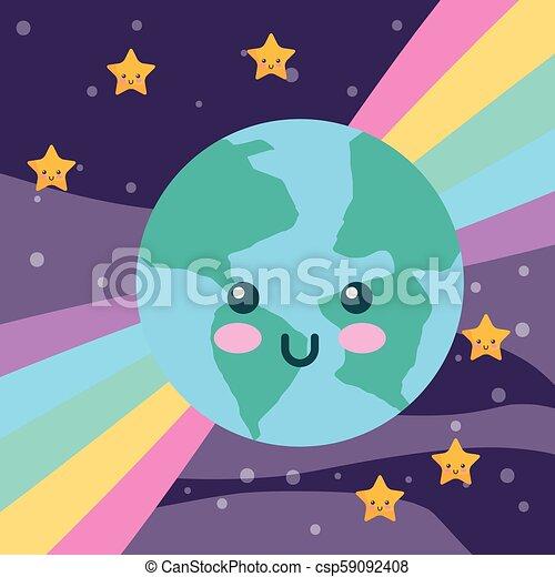Kawaii Arc En Ciel Planète étoiles La Terre