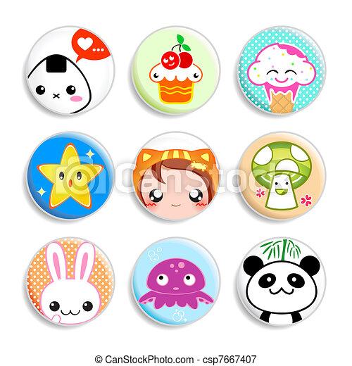 Kawaii badges - csp7667407
