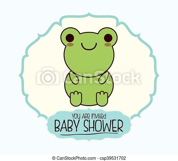 kawaii bebê desenho caricatura chuveiro kawaii coloridos sapo