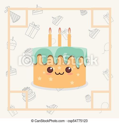 Kawaii birthday cake icon Decorative frame with kawaii vector