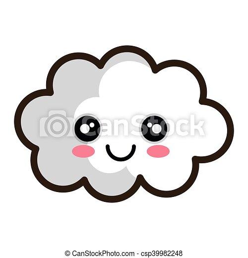 kawaii blanc dessin anim nuage csp39982248 - Dessin De Nuage