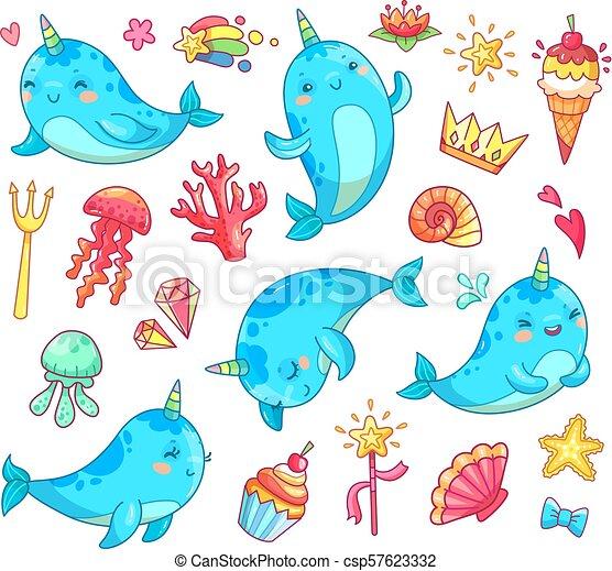 Kawaii Bleu Clipart Rigolote Narwhal Vecteur Anime Licorne Bébé Baleine Marin Dessin Animé Natation