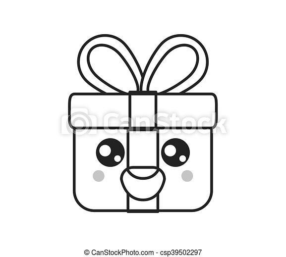 Kawaii Boîte Cadeau Icône