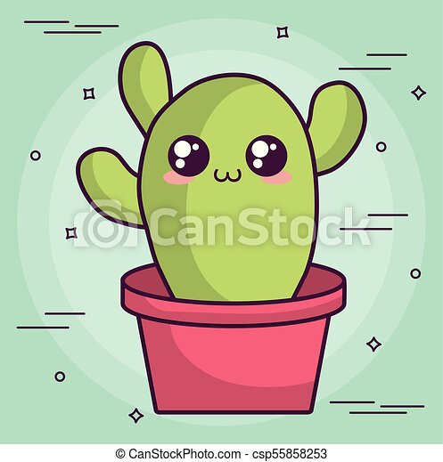 Kawaii Cactus Disegno Kawaii Colorito Vaso Illustrazione