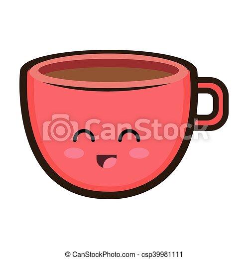 Tasse clipart  Clipart Vecteur de kawaii, café, dessin animé, tasse - kawaii ...