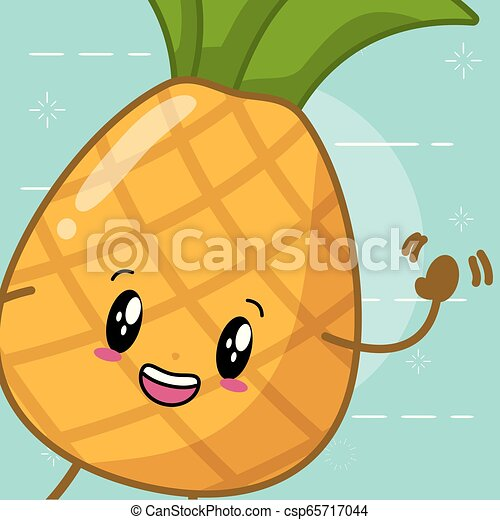 le plus en vogue magasin discount service durable kawaii, caractère, dessin animé, ananas
