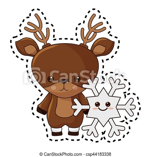 Kawaii Caractère Renne Joyeux Noël Heureux Kawaii Caractère