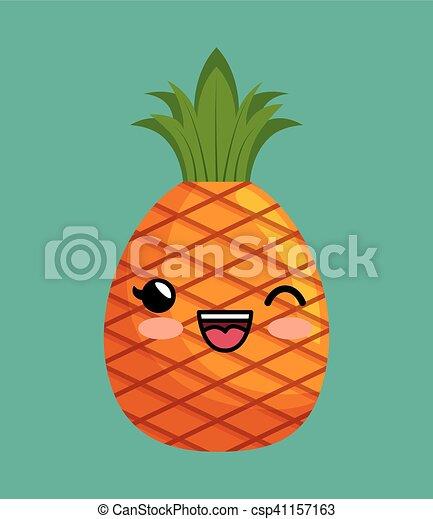 Kawaii Carino Disegno Delizioso Ananas Icona Kawaii Carino