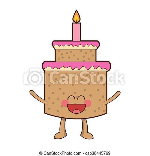 Torta Compleanno Stilizzata.Kawaii Carino Felice Torta Candela Kawaii Carino Isolato Illustrazione Vettore Torta Candela Felice