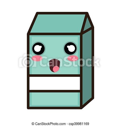 kawaii cartoon milk box - csp39981169