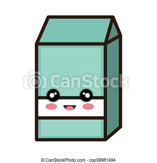 kawaii cartoon milk box - csp39981494