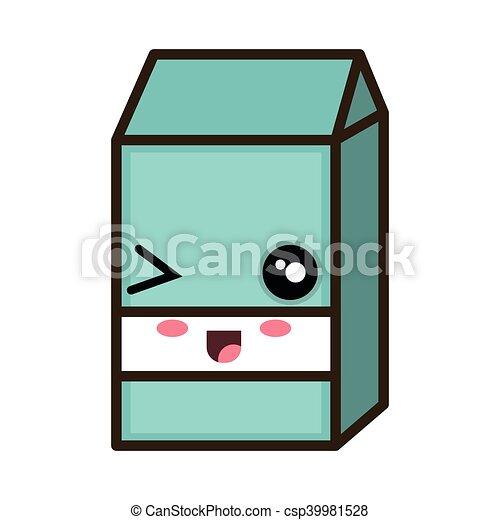 kawaii cartoon milk box - csp39981528