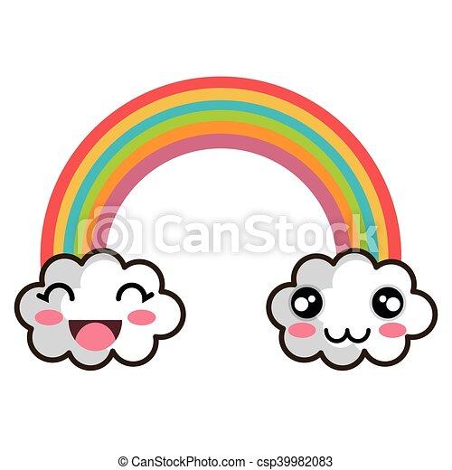 Kawaii Cartoon Rainbow Rainbow Clouds Kawaii Cartoon With Happy
