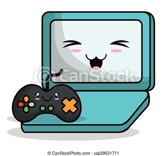 kawaii cartoon technology design videogame control laptop vector rh canstockphoto com free technology clipart images technology clip art free images