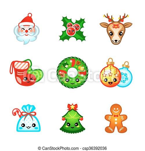 Kawaii Christmas Icons Cute Icons With Traditional Christmas Symbols