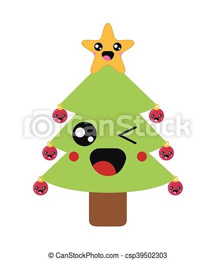 Kawaii Christmas.Kawaii Christmas Tree Icon