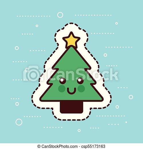 Kawaii Christmas Tree Pine Star Happy Decoration Cartoon Vector Illustration Canstock 780 x 1080 jpeg 73 кб. https www canstockphoto com kawaii christmas tree pine star happy 55173163 html