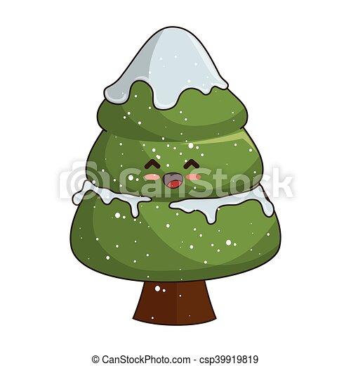 Kawaii Christmas Tree Pine Tree Kawaii Cartoon Happy Face