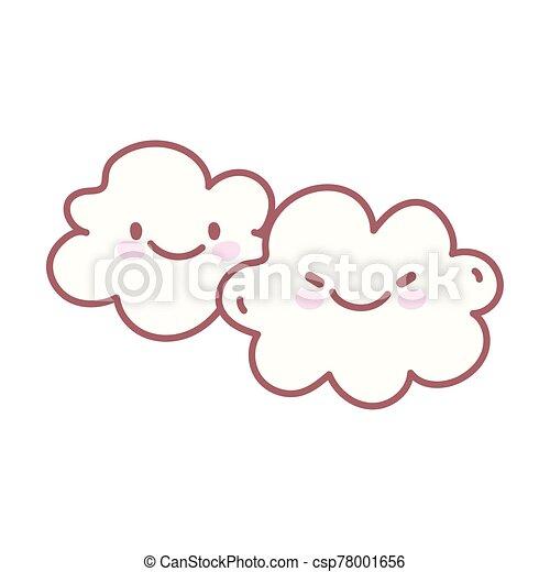 kawaii clouds sky weather character cartoon cute - csp78001656