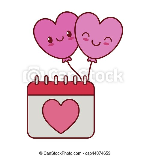 Kawaii Coeur Amour Valentin Calendrier Ballons