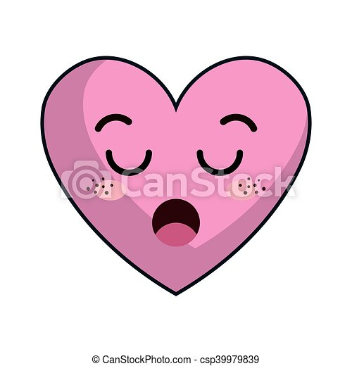 Kawaii Coeur Dessin Anime Kawaii Rose Coeur Ennuyeux Face