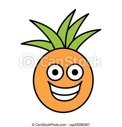 Kawaii Colorare Frutta Ananas Icona Felice Kawaii Vettore