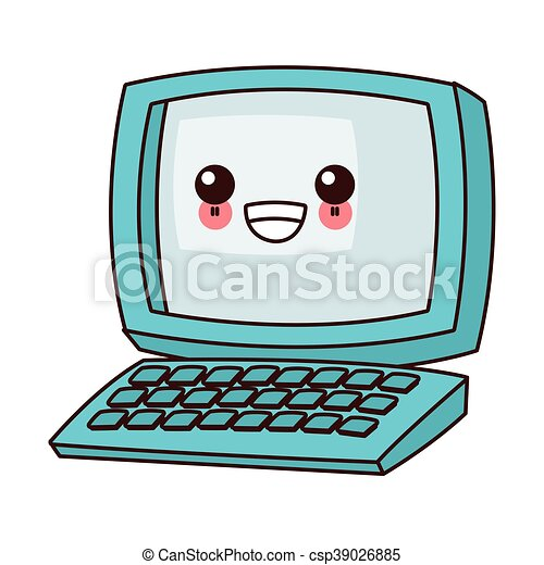 Flat design kawaii computer icon vector illustration.
