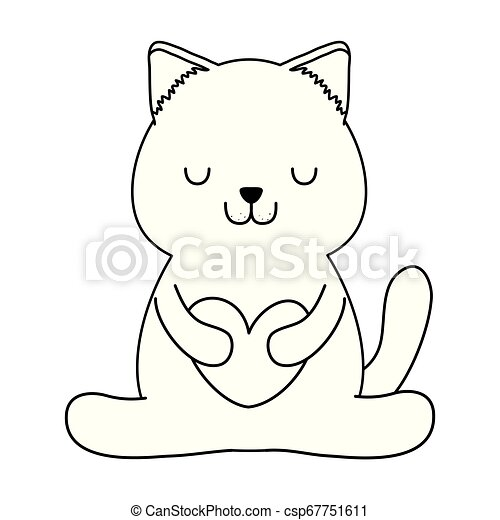 Kawaii Coracao Pequeno Cute Personagem Gato Kawaii Coracao