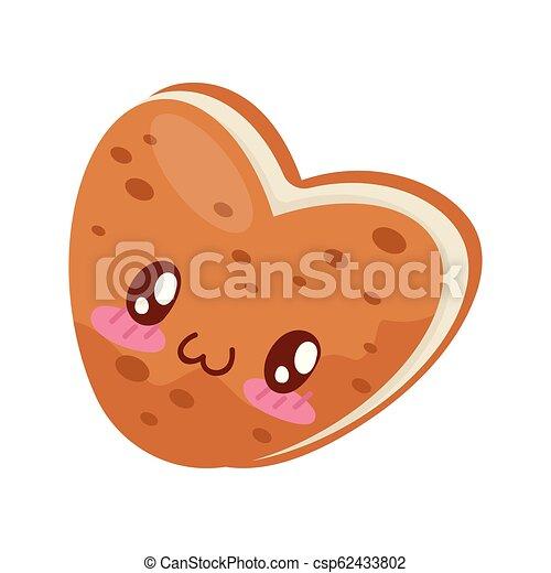 Bizcocho con el corazón de crema con forma de corazón, lindo vector de caricatura de comida de Kawaii Illustración en un fondo blanco - csp62433802