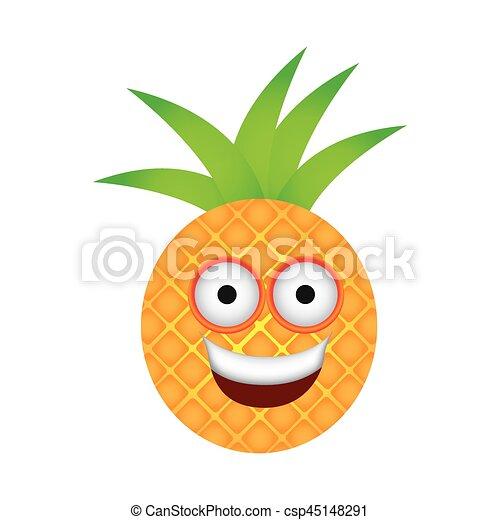 Kawaii Couleur Fruit Ananas Icône Heureux