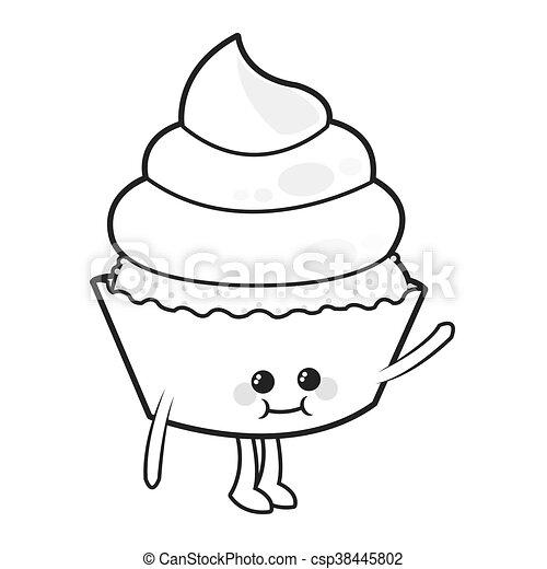 Kawaii Cupcake Cute Cake Icon Isolated Vector Illustration