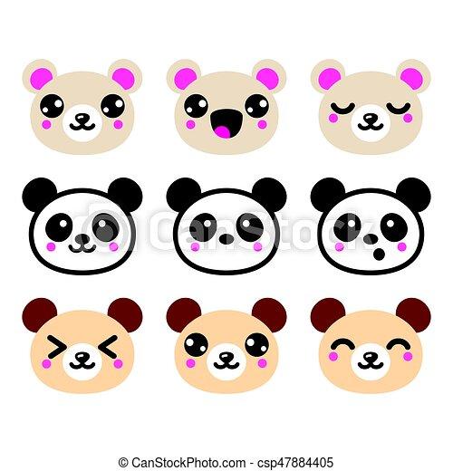 Conhecido Kawaii, cute, ícones, jogo, urso, desenho, panda. Cute, clipart  SD35