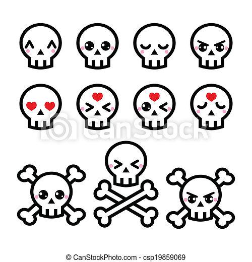 Kawaii cute halloween skull icons . Cute kawaii characters ...