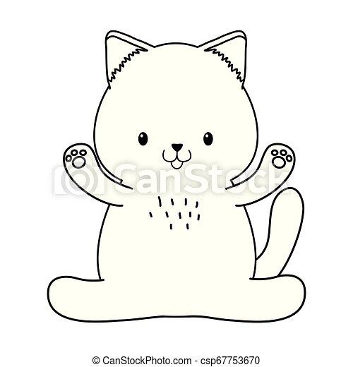 Kawaii Cute Pequeno Personagem Gato Kawaii Cute Pequeno