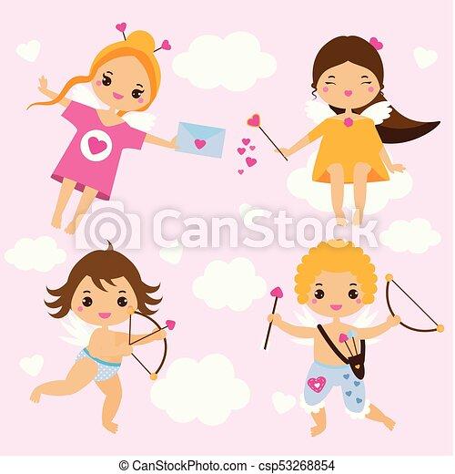 Kawaii Cute Tiro Com Arco Amor Valentine St Tema Cupids