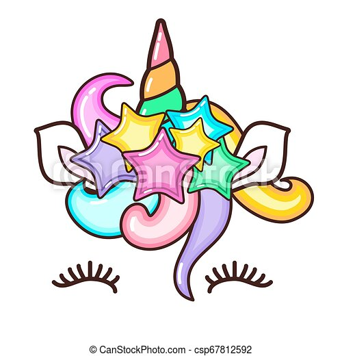 Kawaii cute unicorn horn, funny colorful cartoon. - csp67812592