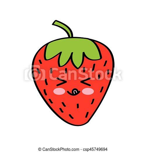 Kawaii Desenho Frutas Kawaii Coloridos Moranguinho Sobre