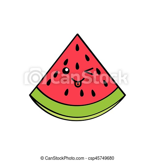 Kawaii Desenho Frutas Kawaii Coloridos Sobre Ilustracao