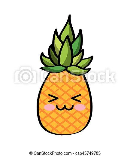 Kawaii Disegno Frutte Kawaii Colorito Sopra Illustrazione