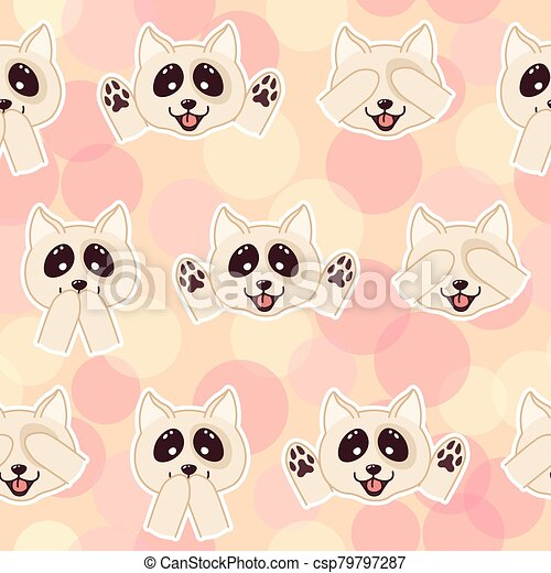 Kawaii Doodle Dogs Seamless Pattern On Yellow Background Cute Domestic Animals Lovely Cartoon Drawing Pets Editable Vector