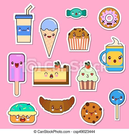 kawaii, emoticon, set, dolci, caramelle, characters., cibo, vettore
