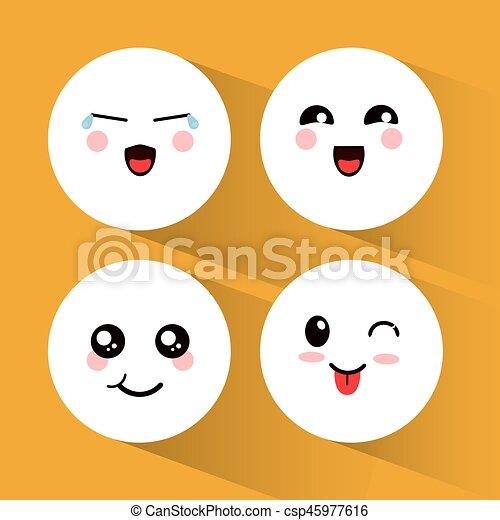Kawaii Emoticons Ensemble Expression
