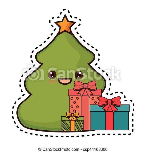 Kawaii Estilo Arbol Navidad Alegre Kawaii Estilo Arbol