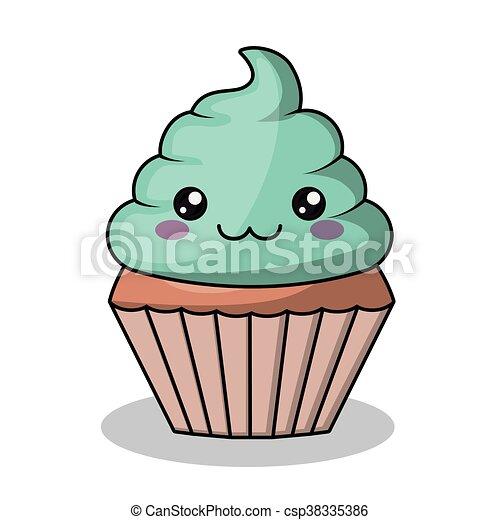 kawaii estilo personagem isolado cupcake desenho ícone kawaii