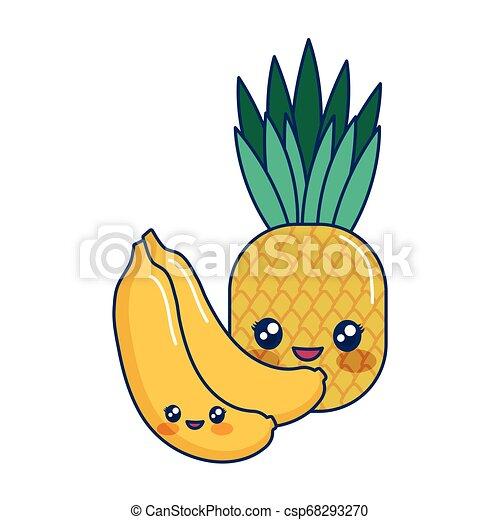 Kawaii Exotique Dessin Animé Bananes Ananas