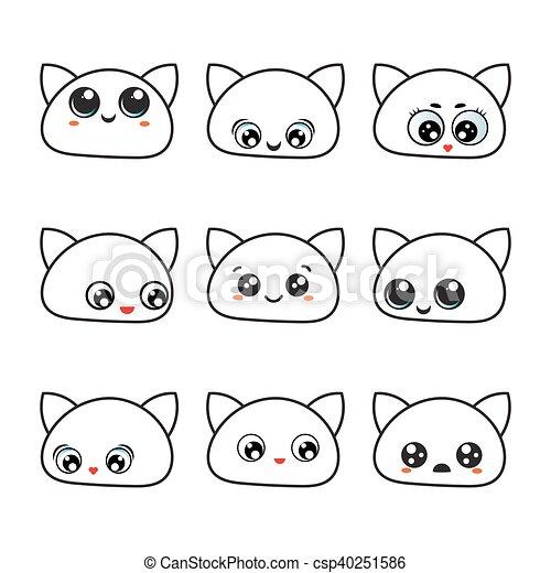 Kawaii Eyes Icon Set Emotions Cute Cat Faces Set Of Cute Cat