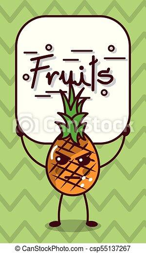 Kawaii Fâché Ananas Signe Fruits Dessin Animé