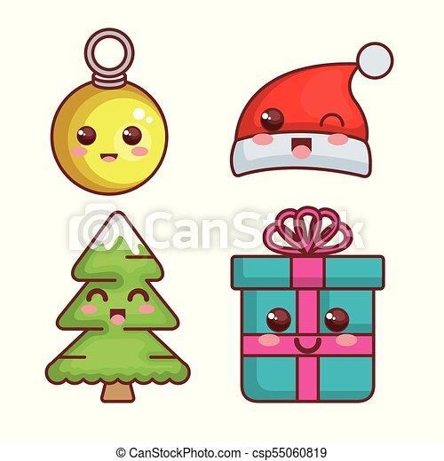 Kawaii Feliz Navidad Caracteres Kawaii Alegre Ilustracion