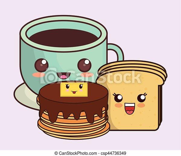 Breakfast Kawaii Food Icon Image Vector Illustration Design