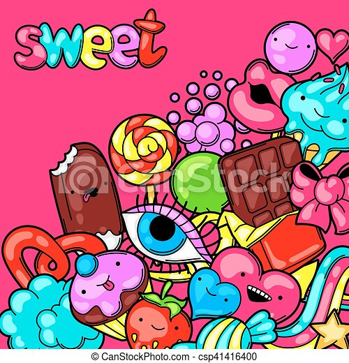 Kawaii Fou Candies Style Bonbons Sweet Stuff Fond Dessin Animé